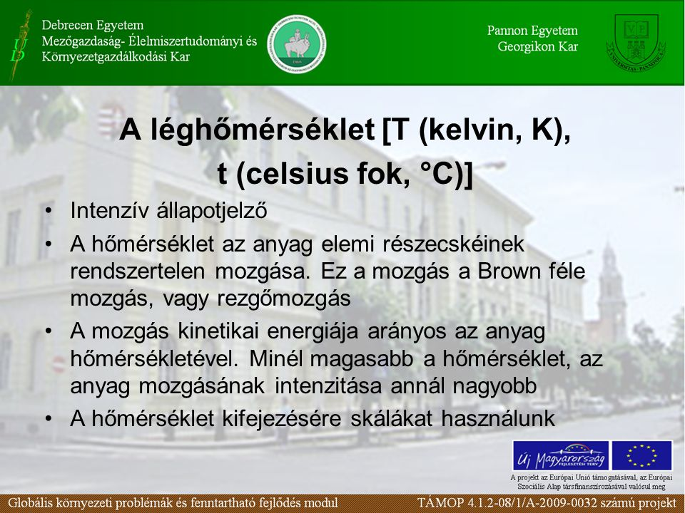 A léghőmérséklet [T (kelvin, K),